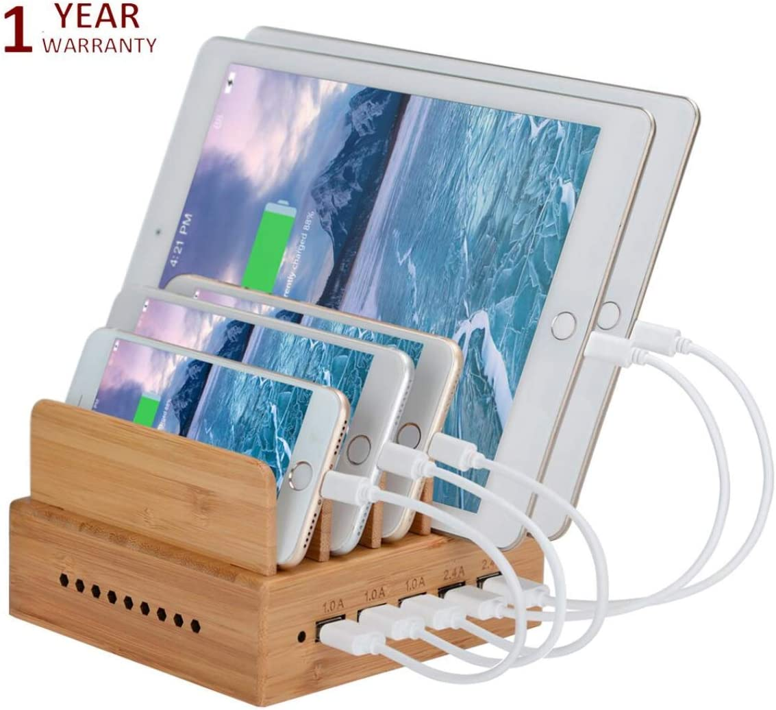 Yisen Handy Wood Bamboo Multi Device Smartphone Charging Station 5-Port USB Charging Dock for for iPhone, iPad, Universal Cell Phones, Tablets and Other USB-Charged Devices (with power cord)