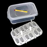 Corner Biz Aquarium 12 Holes Reptile Egg Incubation Tray with Thermometer Gecko Lizard Snake E-GGS Incubation Tool Insect Keeping Box
