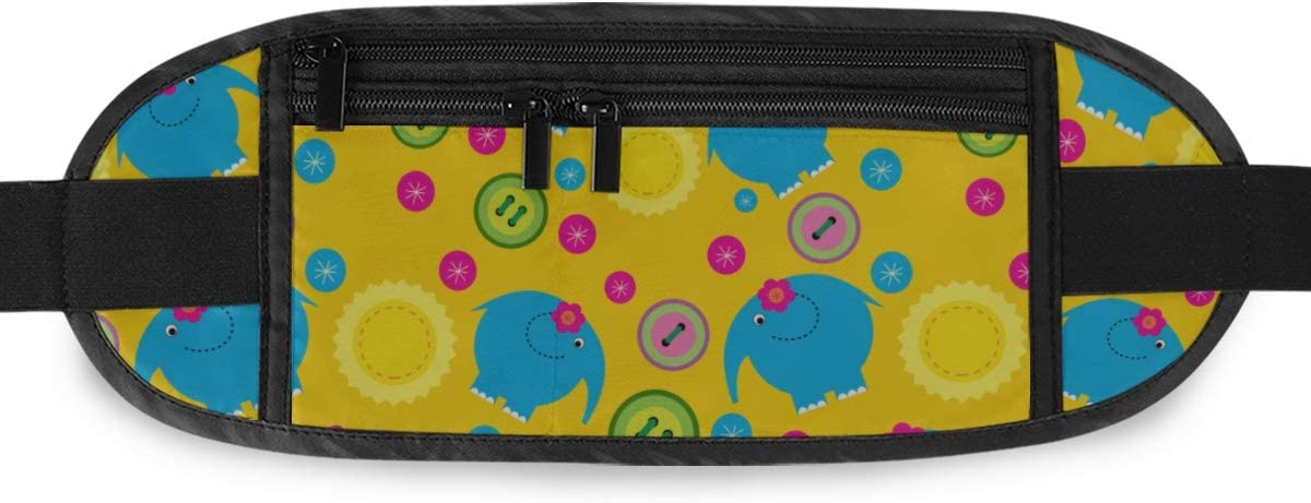 Cute Pattern Elephants On Yellow Running Lumbar Pack For Travel Outdoor Sports Walking Travel Waist Pack,travel Pocket With Adjustable Belt
