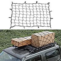 Zilong Cargo Net 47''x36'' Expanded Elasticated Bungee Cargo Mesh with 12 Adjustable Hooks - Stretches to 75''x55''