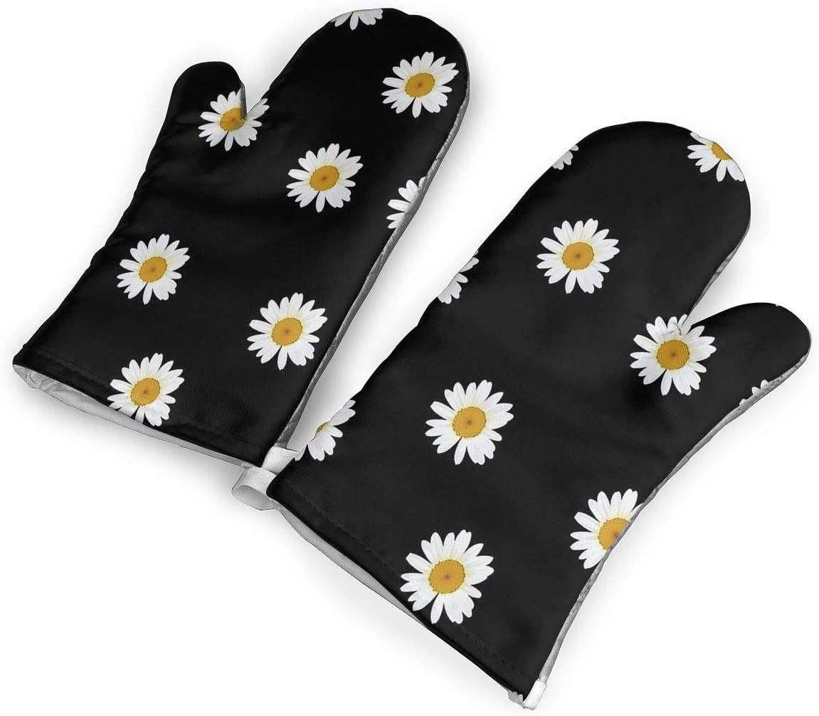 KEIOO Daisy Pattern Oven Mitts Heat Resistant Oven Gloves,Non-Slip Cooking Kitchen Oven Mitts for Baking BBQ,1Pair