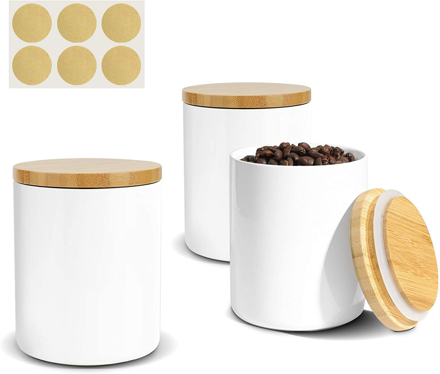 ComSaf Ceramic Food Storage Canisters with Airtight Bamboo Lid (17oz/500ml) Set of 3, White Food Storage Jar Containers with Seal Wood Lid for Kitchen Pantry Serving Sugar, Tea, Cereal and Snack