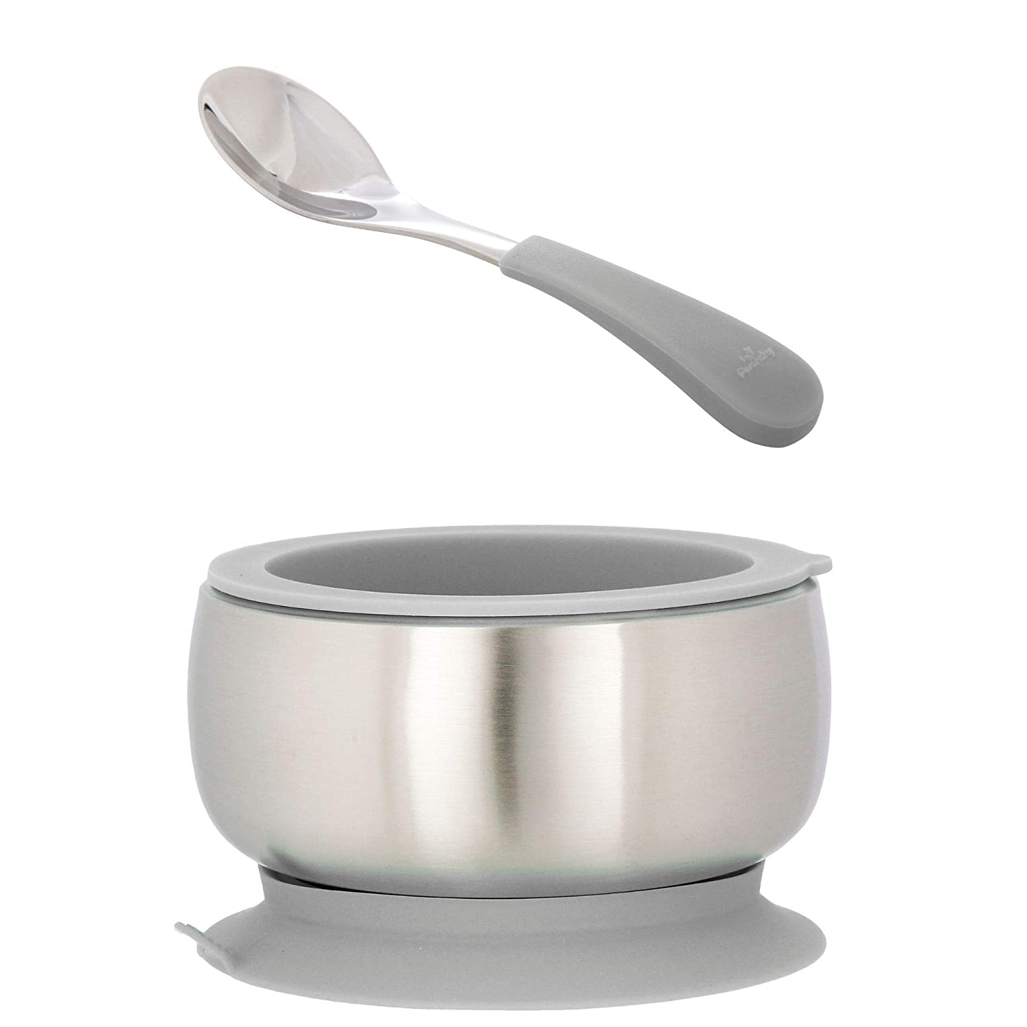 Avanchy Stainless Steel Baby Bowl with Spoon Combo - Stainless Steel Kids Bowls - Suction Bowls with Lids - Suction Bowl BPA Free - Stay Put Bowl (Gray, Baby)