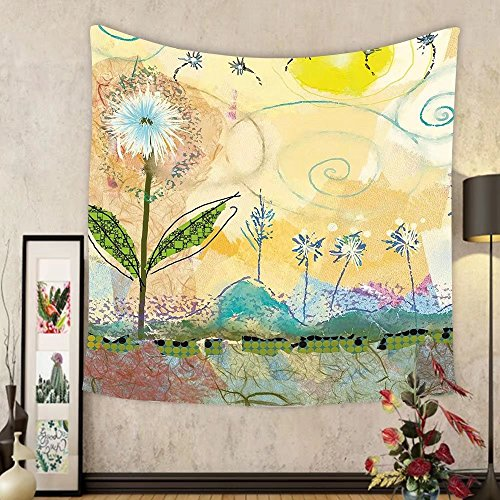 Niasjnfu Chen Custom tapestry Watercolor Flower Home Decor Tapestry Dandelion Mass with Round Circle Petal under Blue Sky Valley Image for Bedroom Living Room Dorm 60WX40L - Little Mass Petal