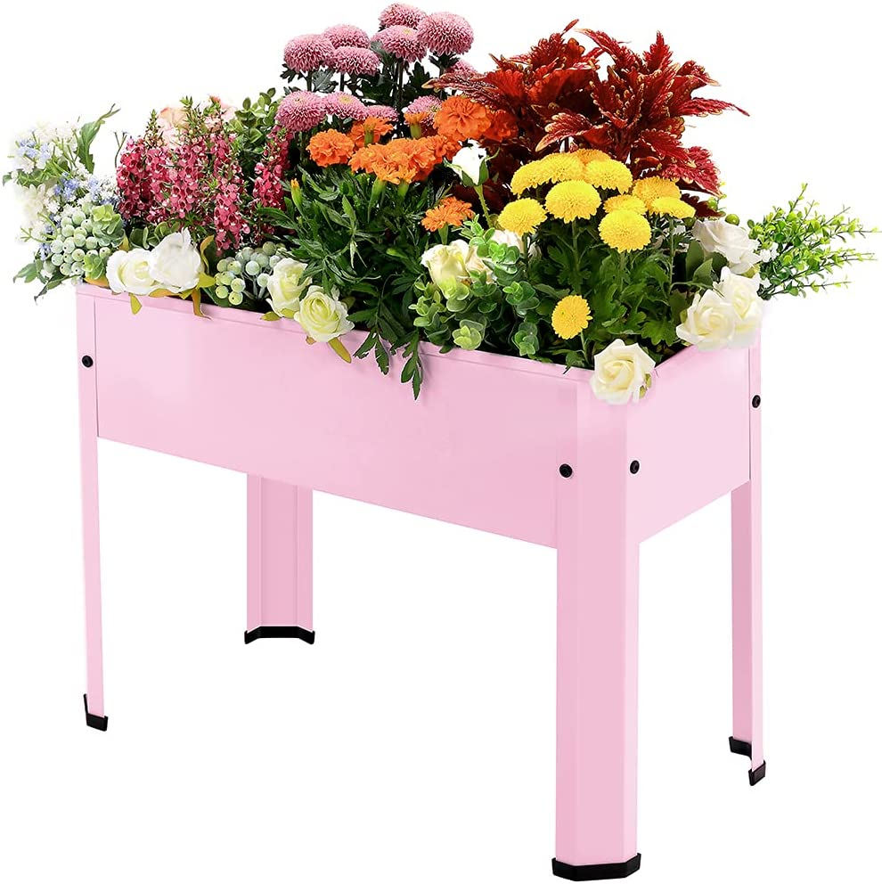 LEMONDA Raised Garden Bed,Elevated Galvanized Steel Planter Box with Legs,Standing Planter Container for Outdoor Patio Flower Fruit Herb Vegetable Growing