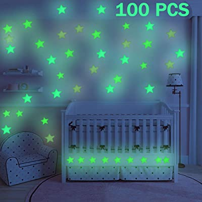 GOODBUY Star Luminous Stickers, Glow in The Dark Stars, Fluorescent Stars Wall Stickers for Home Art Decor Ceiling Wall Decorate Kids Babys Bedroom Decorations, 100 PCS, Blue: Toys & Games