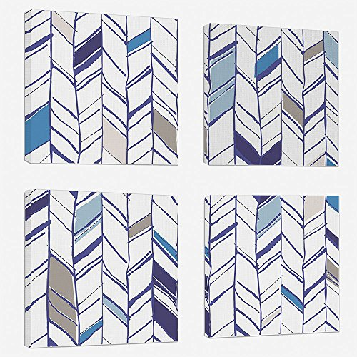 4pcs/set Modern Painting Canvas Prints Wall Art For Home Decoration Navy Print On Canvas Giclee Artwork For Wall DecorTribal Zigzag Lines Pattern in Various Shades Geometric Boho Sketch Print-Sky Blue ()