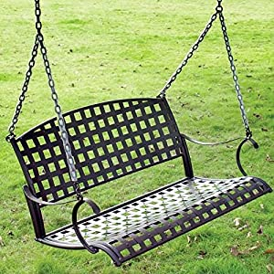 International Caravan Santa Fe Iron Porch Swing in Rustic Brown