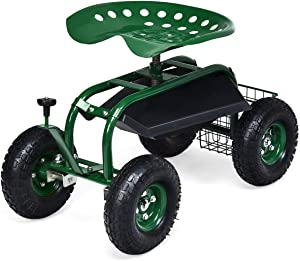 Goplus Garden Cart Gardening Workseat w/Wheels, Patio Wagon Scooter for Planting, Work Seat with Tool Tray and Basket (Knob Handle)