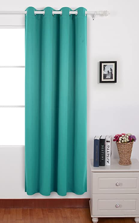 Deconovo Eyelet Solid Curtain Thermal Insulated Blackout For Kids Bedroom 140x240 Cm Turquoise 1 Panel