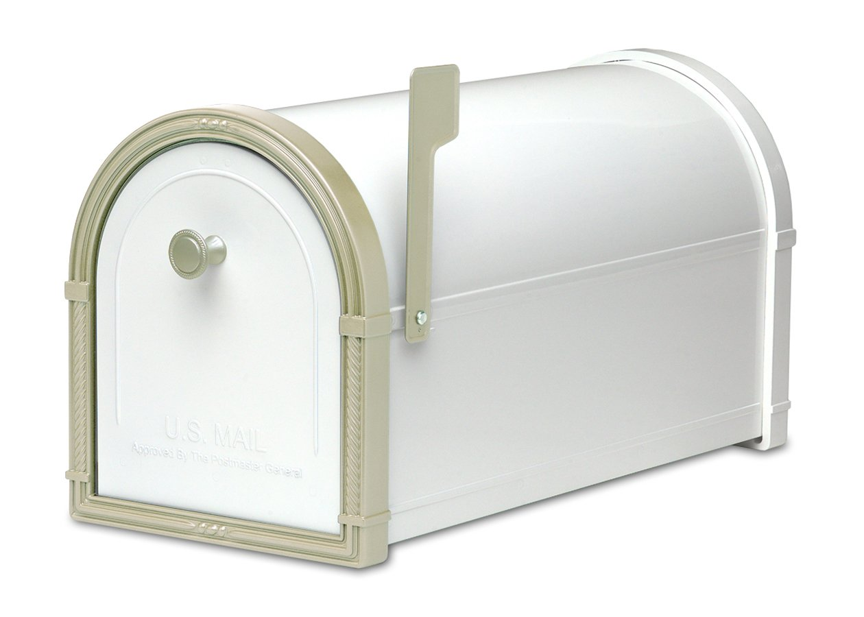 Architectural Mailboxes Bellevue Mailbox White with White Bronze by ARCHITECTURAL MAILBOXES