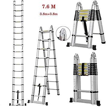 Escalera de tijera extensible telescópica, extensión de aluminio para loft plegable multiusos (3.8 + 3.8M): Amazon.es: Bricolaje y herramientas