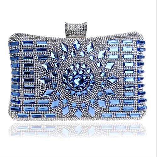 GSHGA Bolso De Embrague Femenino De Lujo De La Tarde Del Bolso Del Diamante Para Los Clubs De La Boda Del Partido Blue