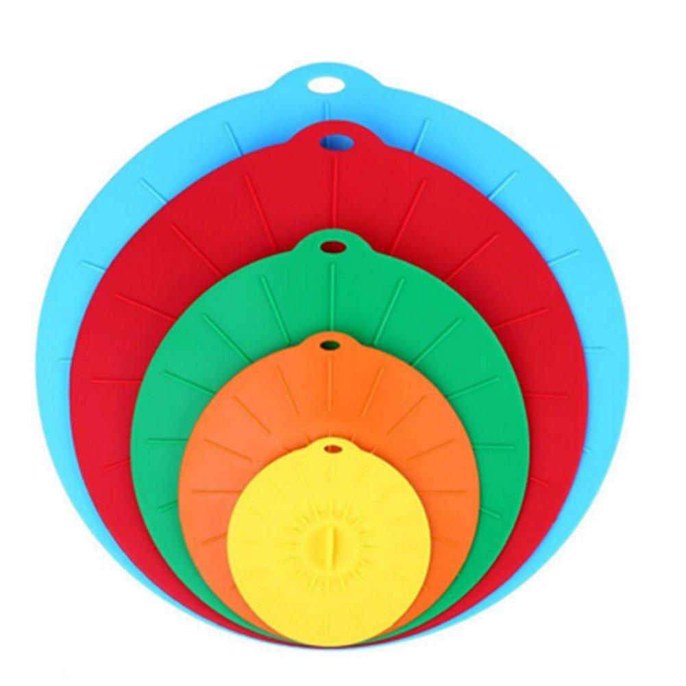 Tapas de silicona para alimentos, tapas de succión universal, resistentes al polvo, resistentes al calor, reutilizables para cuencos, tazas, tazas o recipientes., Silicona para uso alimenticio, Blue, Green, Red, Yellow, Orange, 5 unidades 1405216