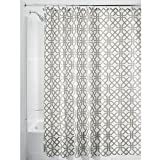 InterDesign Trellis Fabric Shower Curtain - Stall 54'' x 78'', Stone Gray/White