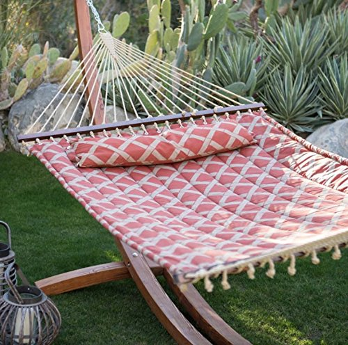 Prugist TropiRest 11 ft. Tuscan Lattice Quilted Hammock with Russian Pine Wood Arc Hammock Stand