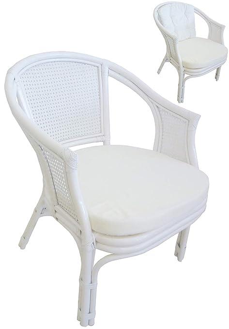 Sedie In Vimini Bianche.Sf Savino Filippo Poltrona In Vimini Bambu Giunco Vienna Rattan Bianco Con Cuscini Per Casa Camera Salotto Bar Bamboo Bianca