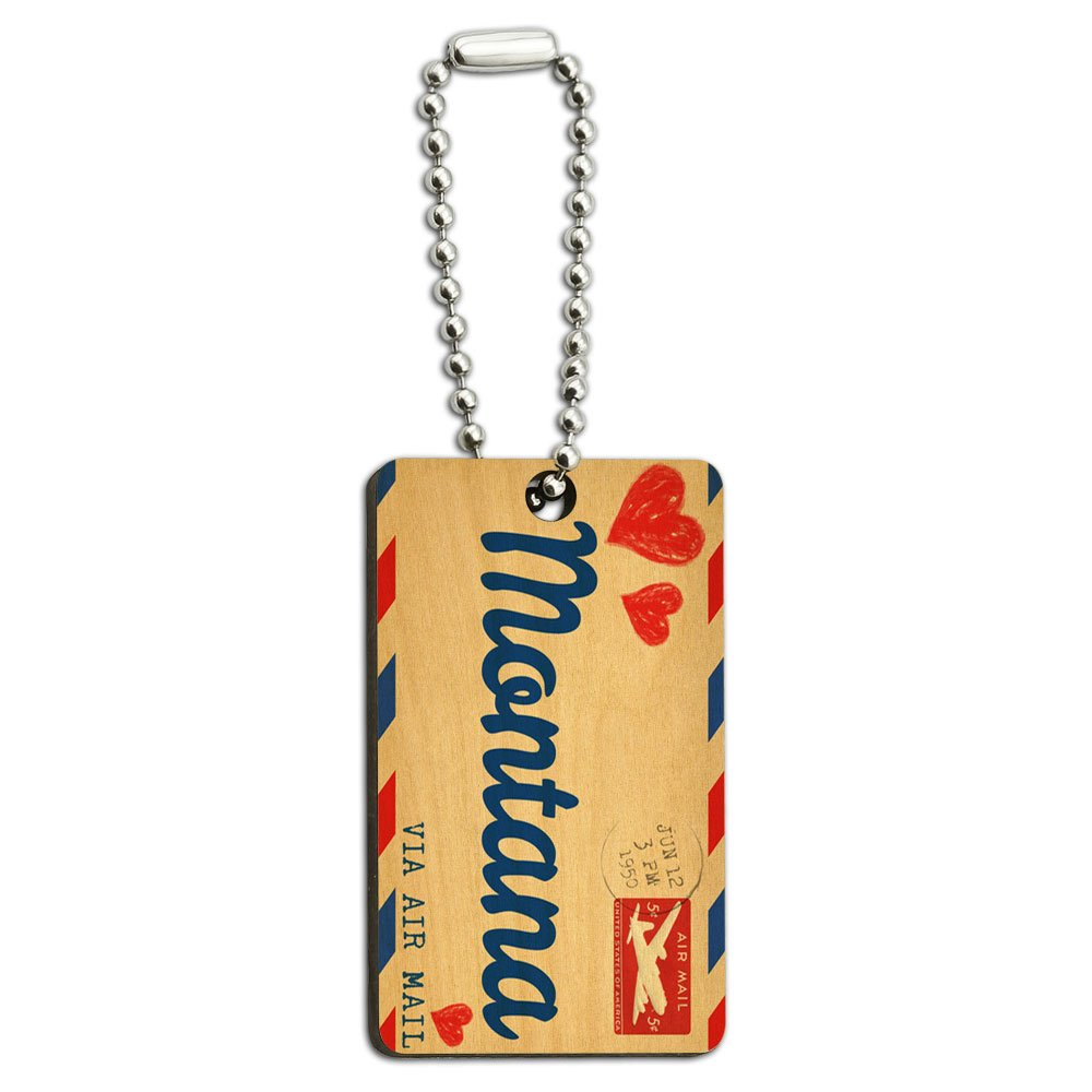 Air Mail Postcard Love for Montana Wood Wooden Rectangle Key Chain