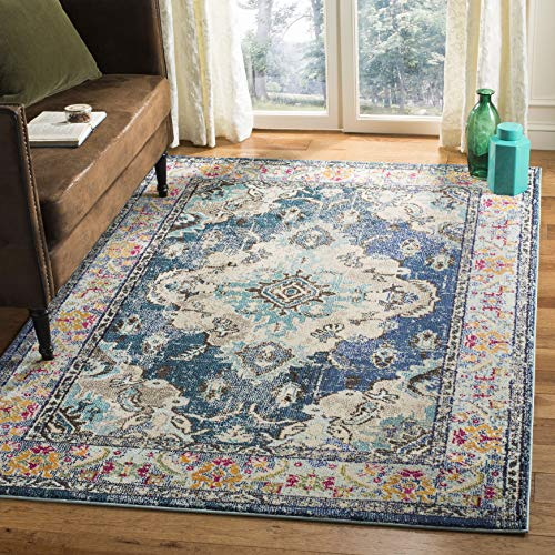 Safavieh Monaco Collection MNC243N Vintage Bohemian Navy and Light Blue Distressed Area Rug (3' x 5') (Rug Mission Style)