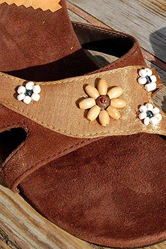 SEESTERN Damen Leder Sandaletten Abendschuh Pumps Pantoletten in Gr.36, 39 & 41 Brauntöne