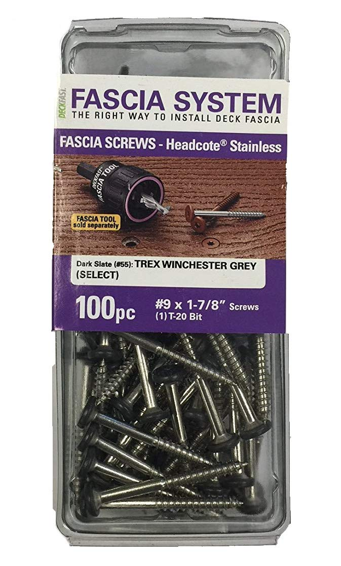 100 pieces Deckfast Fascia Screws #55 Dark Slate 9 x 1-7//8 Stainless Steel Fascia Screws