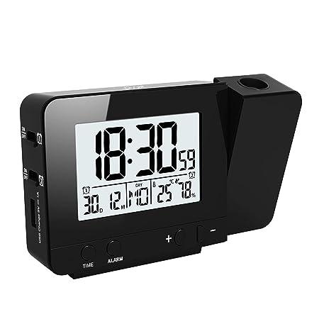 FORNORM reloj del proyector de temperatura y tiempo, projector LED ...