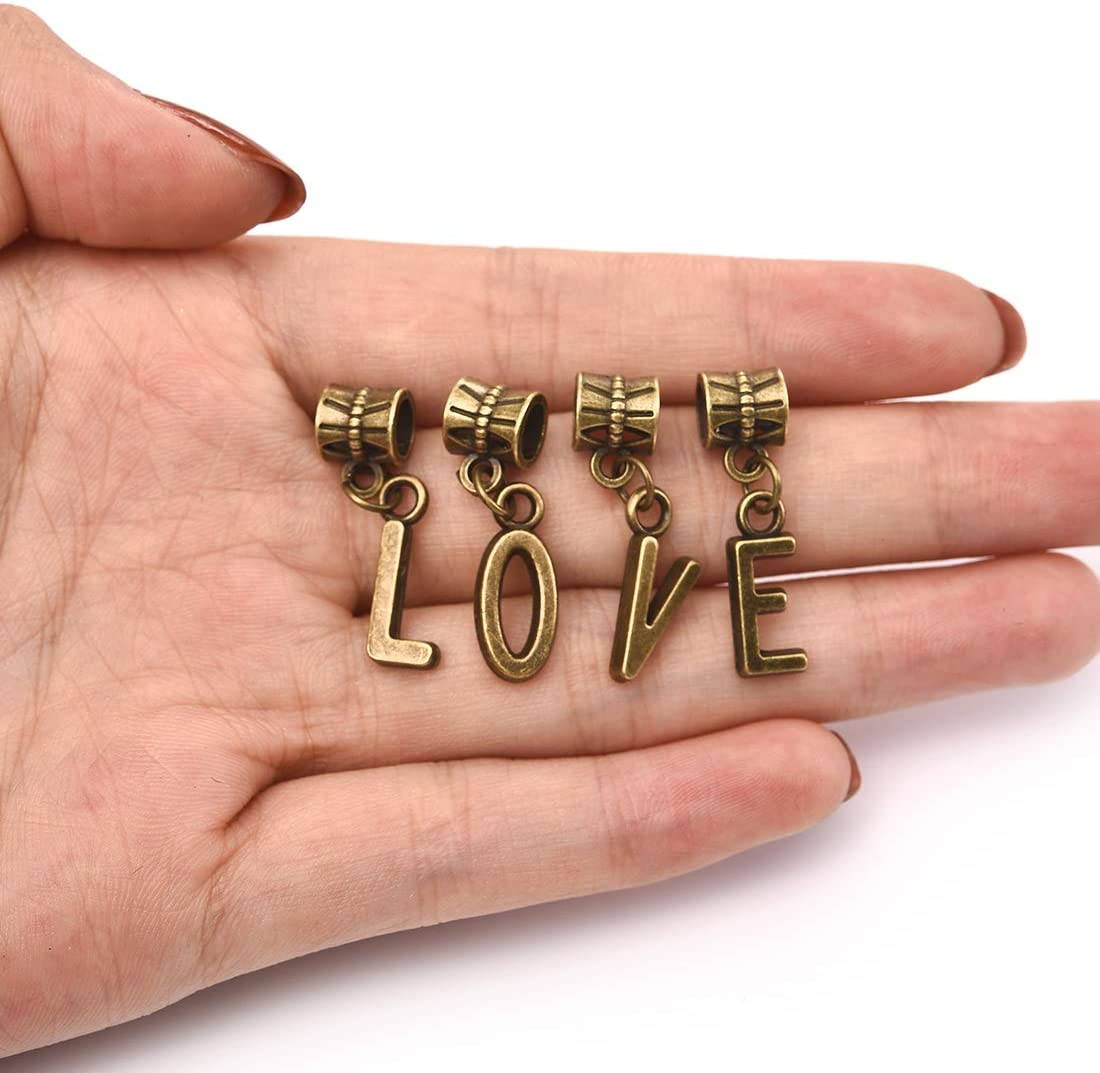 Hole 0.2inch//4.8mm OBSEDE Bronze Alphabet Charms Initial Capital Letters Pendant for Jewelry Making Findings Crafting A-Z Set of 2 52Pcs