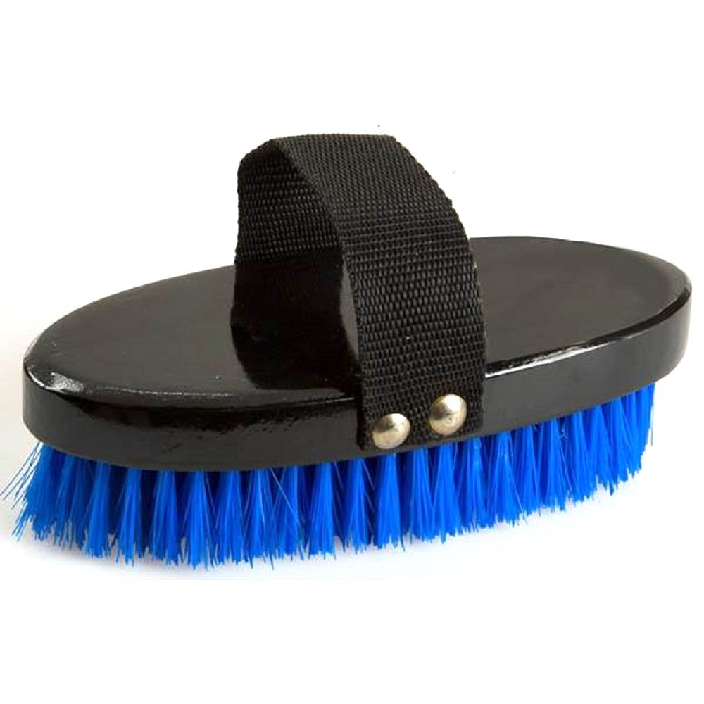 Longhorn / Cattle / Horse Grooming Brush w/ Hand Strap - W 3-5/8'' L 7-5/8'' Trim Size: 1-1/2'' - Blue