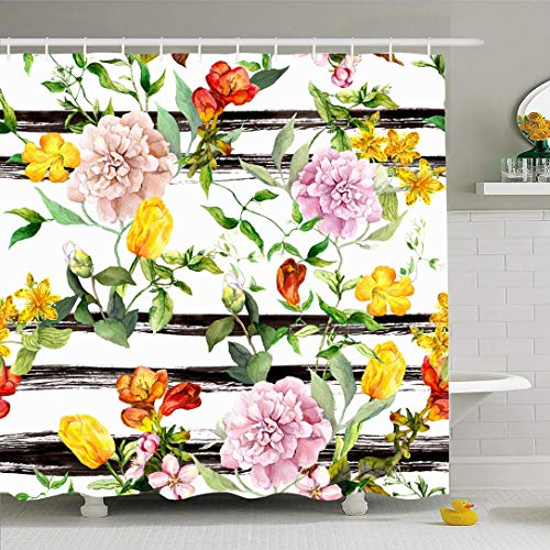 (Ahawoso Shower Curtain 72x72 Inches Herbal Watercolor Pattern Flowers Monochrome Striped Floral Leaves Nature Yellow Stripe Water Color Vintage Waterproof Polyester Fabric Set with Hooks)
