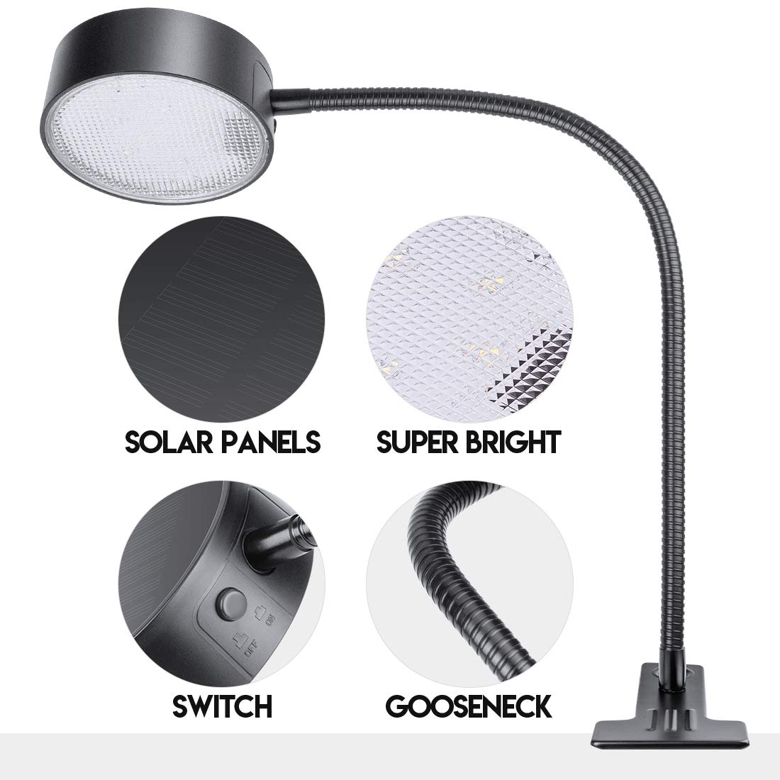LeiDrail Grill Light LED Solar BBQ Lights Super Bright Wide-Angle Barbecue Lamp Flexible Gooseneck Outdoor Waterproof Anti-Shedding Clip for Charcoal Electric Desk Work Bench by LeiDrail (Image #7)