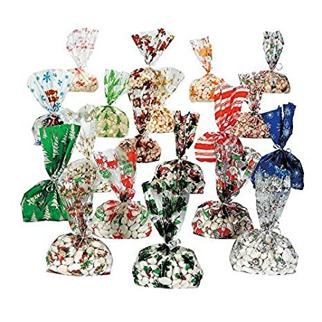 christmas cellophane bags 9 dz assortmet 108 pc by fun express