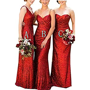 9886db470628 WuliDress Women's Long Burgundy Sequin Bridesmaid Dresses for Weddings Form Prom  Gown