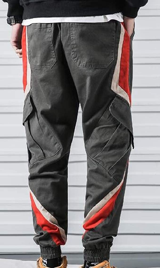 Mens Patchwork Trousers Multi-Pocket Cargo Work Casual Pants