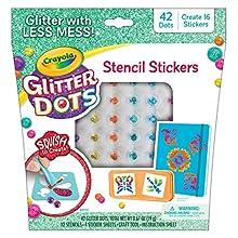 Crayola Glitter Dots Stencil Stickers Craft Kit Age 7+