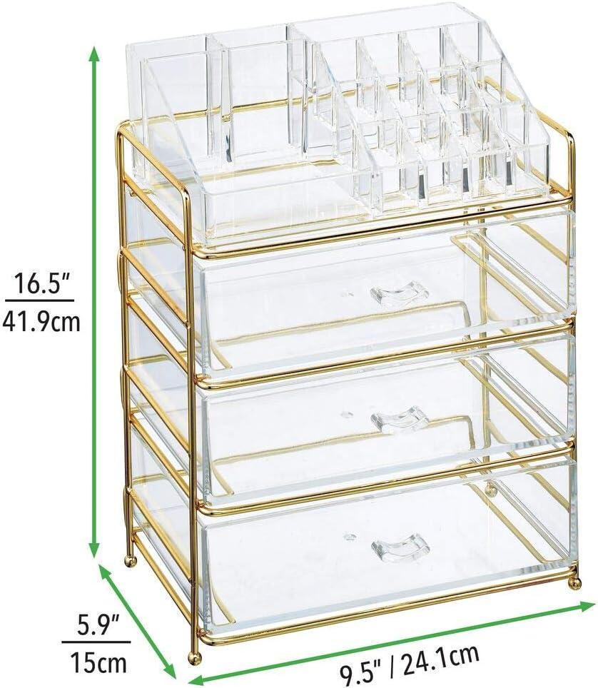 messingfarben//durchsichtig Aufbewahrungsbox mit 16 F/ächern und 3 Schubladen mDesign Kosmetik Organizer praktische Ablage zur Kosmetikaufbewahrung im Bad oder Schlafzimmer