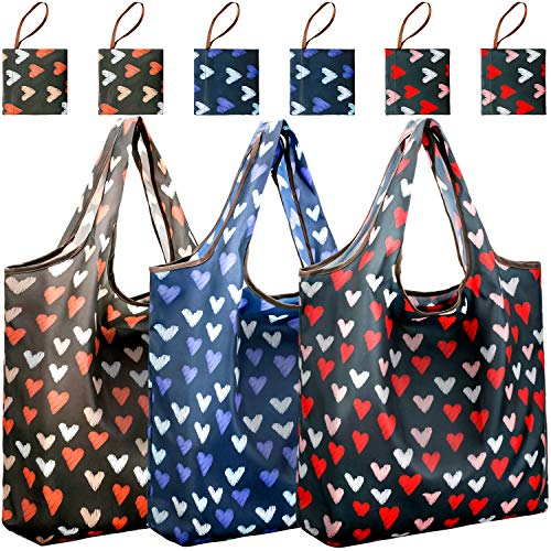 Reusable Shopping Bags Foldable | Pack of 6 Nylon Shopping Grocery Bags Floral & Cute | JARTON Compact Purse Shopping Bags with 35lbs Weight Capacity (Chic Heart-shaped, Pack of 6)