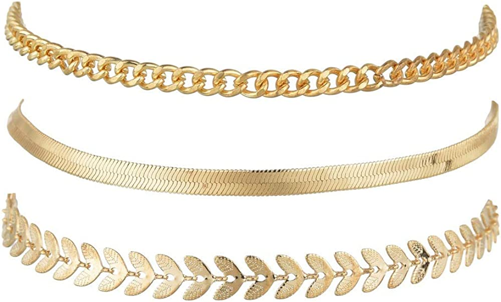 kelistom 18K Gold Plated Cuban/Figaro/Star Chain Anklet for Women Men, Thick Punk Hip-hop Ankle Bracelets for Women with Extension