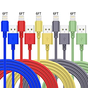 5 Pack 6ft iPhone Charger Cables, MFi Certified Lightning Charging USB Data Cord High Speed Cable Compatible with iPhone 12 Mini 11 Pro Max XS XR X 8 7 6S 6 Plus SE 5S 5C 5 iPad AirPods Pro