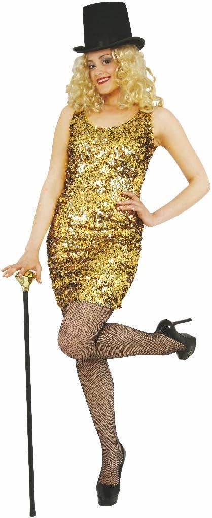Disfraz Las Vegas Fiesta de Mujer (Tallas XS – L, Oro Lentejuelas ...