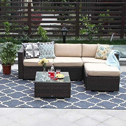 PHI VILLA 5-Piece Outdoor Sectional Sofa Rattan Patio Furniture Set Conversation Set with Ottoman, Beige