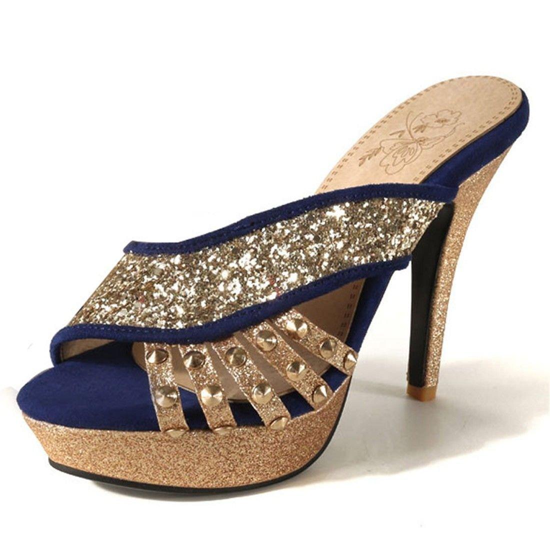 AIKAKA Taille Femmes Chaussures Printemps Été Imperméables Paillettes Haut Paillettes Talon Grande Taille Pantoufles Imperméables Blue 099bf74 - automatisms.space