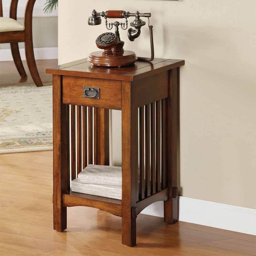 1PerfectChoice Mission Hallway Telephone Plant Stand Snack Table Drawer & Shelf in Antique Oak
