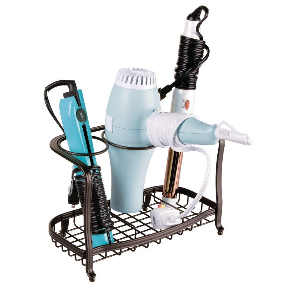 Soporte para plancha de pelo secador mDesign Soporte para secador de pelo de pie y sin taladro Cesta de rejilla de metal para el ba/ño cepillos y otros productos de peluquer/ía bronce
