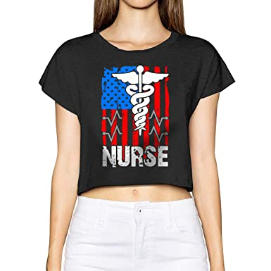 556229a7b5a3fc Women's Girls Sexy Casual Short Sleeve Nurse American Flag Scoop Neck Crop  Top Cotton Tees Black