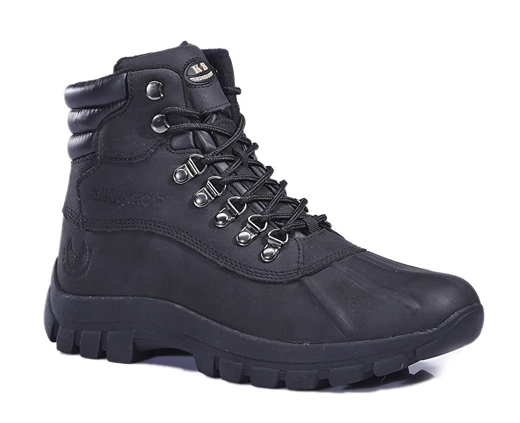KINGSHOW Mens M0705 Water Proof Black Leather Rubber Sole Winter Snow Boots