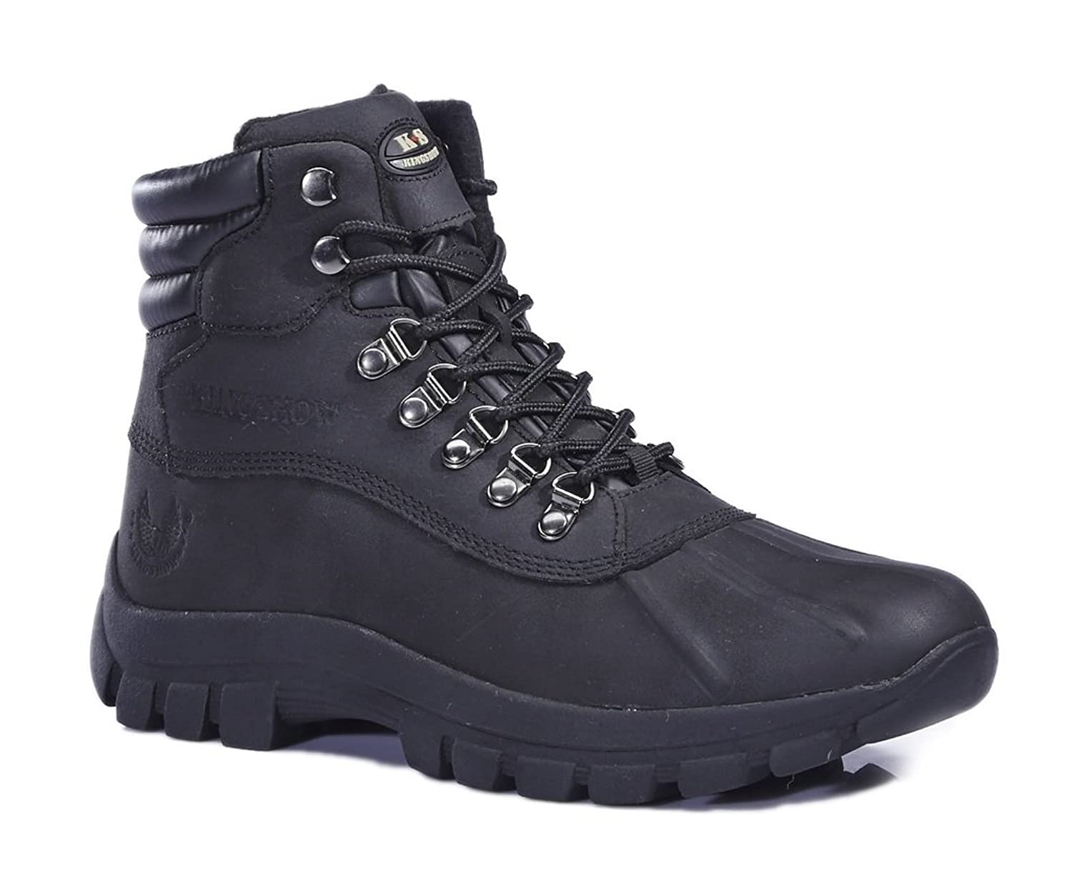 KINGSHOW Men's M0705 Water Proof Black Leather Rubber Sole Winter Snow Boots 10.5 M US