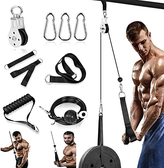 DTX Fitness Lat Cord Tricep Rope Pulley Attachment Black