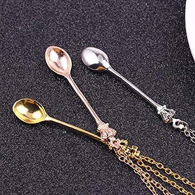Doitsa Unisex-Halskette Krone L/öffel Halskette Mini Teel/öffel Klassische Snuff Halskette Legierung Universal Halskette