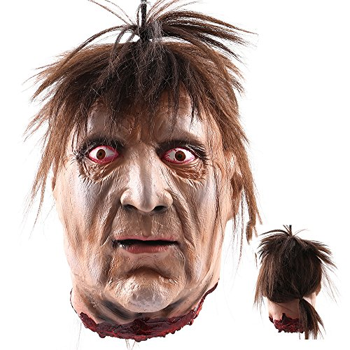 Halloween Props Scary Hanging Severed Head Decorations,Life-Size Bloody