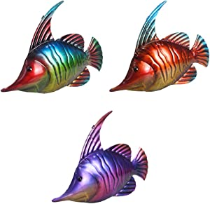 Coastal Ocean Sea Metal Fish Hanging Wall Art Decor for Outdoor or Indoor Set of 3
